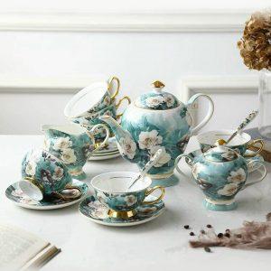 Bộ ấm trà sứ hoa mộc lan