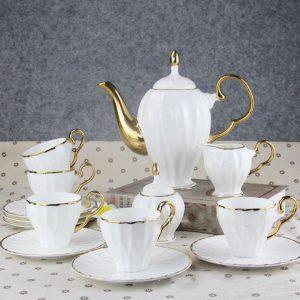 Bộ ấm trà trắng cao