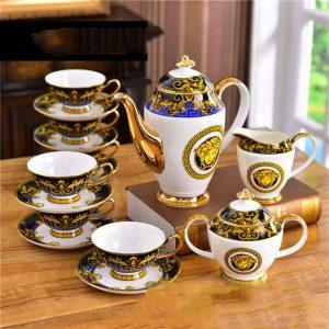 Bộ ấm trà Versace cao cấp vàng xanh