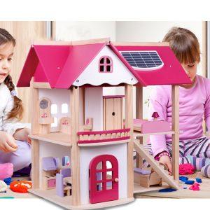 Bộ đồ chơi ngôi nhà gỗ Pink House