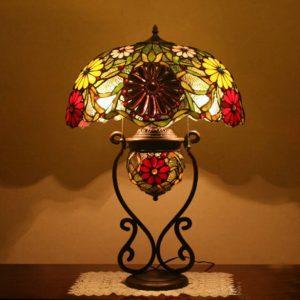 Đèn bàn hoa đỏ Tiffany