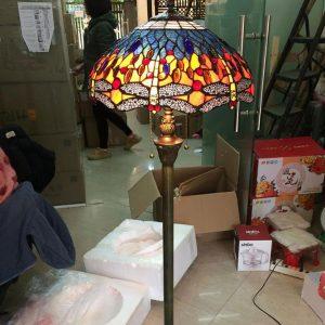 Đèn cây Tiffany chuồn chuồn tím