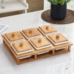 Khay mứt sứ khung gỗ 6 ngăn