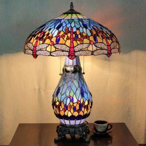 Đèn bàn bầu Tiffany Dragonfly xanh dương