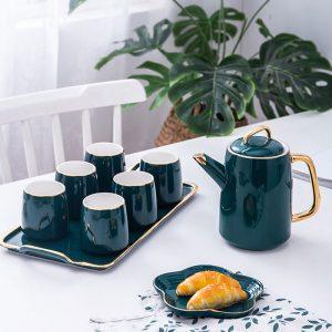 Bộ trà khay sứ
