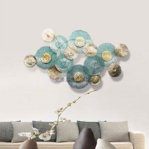 Tranh kim loại trang trí tường phòng khách decor Hoa Xanh
