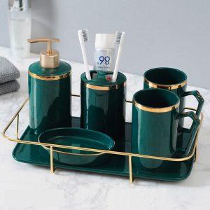 Bộ dụng cụ sứ đựng đồ nhà tắm Green