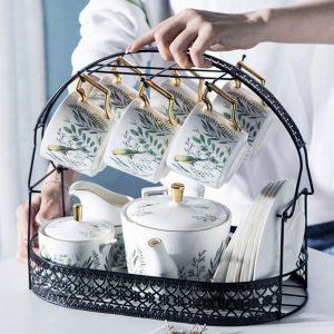 Bộ ấm trà sứ xương 16 chi tiết khay giỏ cách điệu