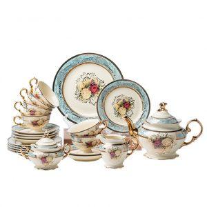 Bộ ấm trà hoa kiểu âu kèm đĩa bánh