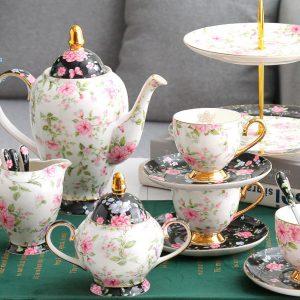 Bộ ấm trà sứ xương hoa tím không bao gồm khay bánh